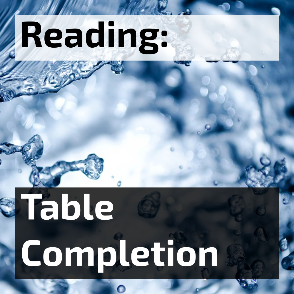 IELTS Reading Table Completion Questions